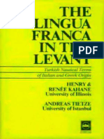 The Lingua Franca in the Levant - Turkish Nautical Terms of Italian and Greek Origin