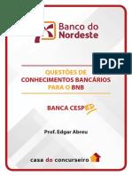Questoes Bnb Cesped Conhecimentos Bancarios Edgar Abreu