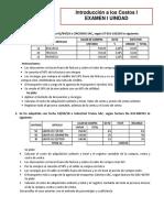 Examen i Unidad Introduccion a Los Costos 2018-II