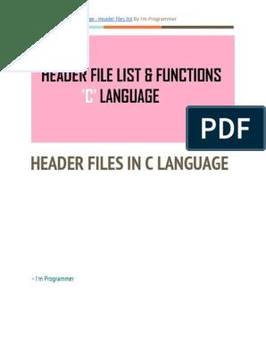 C-Programming-Language-Header-files-list pdf | C