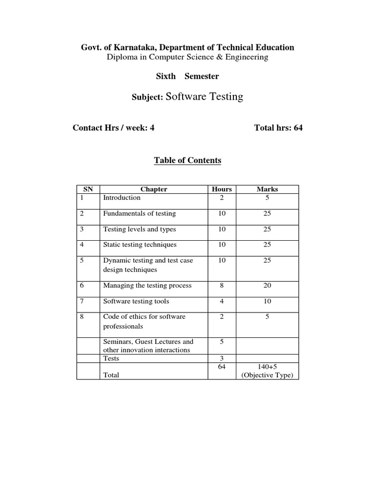 Software Testing Govt Of Karnataka Department Of Technical Education Software Testing Intellectual Works Free 30 Day Trial Scribd
