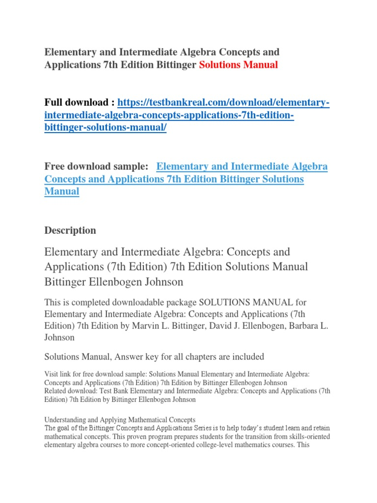 Elementary and Intermediate Algebra Concepts and Applications 7th Edition  Bittinger Solutions Manual | Wildfire | Physics & Mathematics
