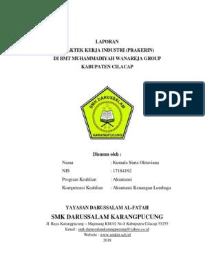 Laporan Praktek Kerja Industri Prakerin Di Bmt Muhammadiyah Wanareja Group Kabupaten Cilacap