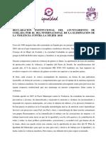 Declaración Institucional del Ayuntamiento de Coslada por el Día Internacional de la Eliminación de la Violencia contra la Mujer 2018