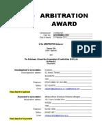 Arbitration Award 1