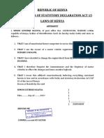 Affidavit Change of Engine