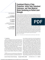 Combined Effects of Tube Projection, Initial Tube-Tubesheet Clearance, and Tube Material Strain Hardening on Rolled Joint Strength