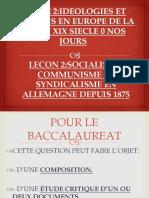 SOCIALISME,COMMUNISME ET SYNDICALISME EN ALLEMAGNE DEPUIS 1875