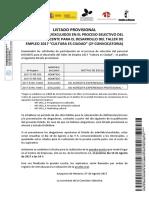 Listas Provisionales Docente Taller Empleo Cultura 2a Convocatoria 4