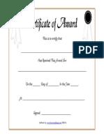 Certificate of Award Printable Blank Template