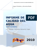 Informe de Calidad Del Agua - Septiembre 2010