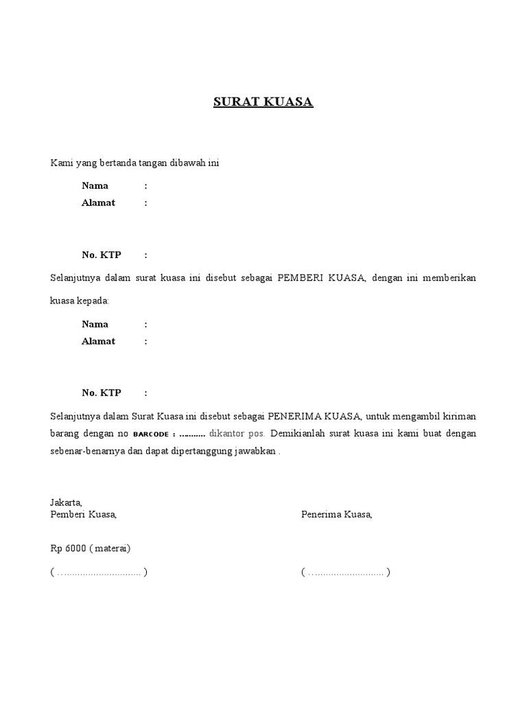 Contoh Surat Kuasa Pengambilan Barang Di Pegadaian Kumpulan Surat Penting
