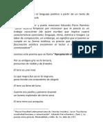Reflexiones Sobre El Lenguaje Poético a Partir de Un Poema de Miguel Ángel Federik