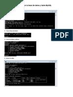 Crear La Base de Datos y Tabla MySQL