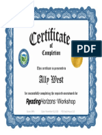 rhworkshop certificate-ally west