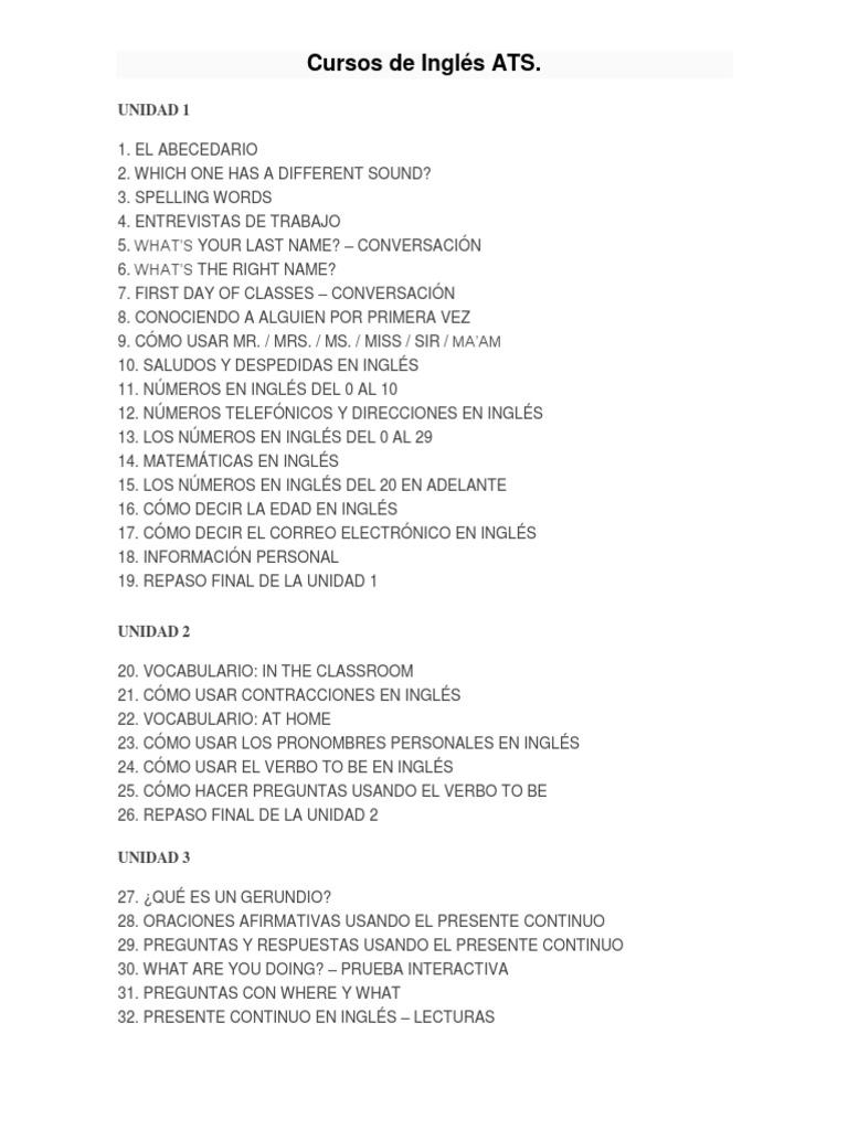 Contenido Cursos De Ingles Ats Sintaxis Idiomas