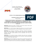 Barangay Resolution Support Illegal Drugs