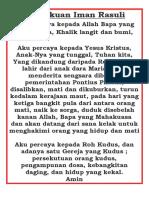 Pengakuan Iman Rasuli Versi Indonesia