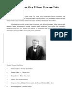 Biografi Thomas Alva Edison Penemu Bola Lampu