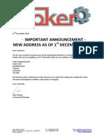 Coker - Customer Move Announcement