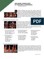Get to know Indigenous Dance of each Province in Indonesia (Mengenal Tarian Adat Setiap Provinsi di Negara Indonesia)a