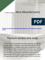 Titanium Wire Manufacturers