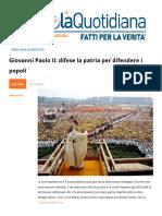 Giovanni Paolo II Difese La Patria Per Difendere i Popoli