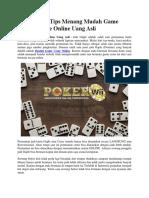 Strategi Dan Tips Menang Mudah Game Bandar Ceme Online Uang Asli