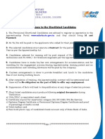 Instruction's to Diploma-graduate Shortlisted Candidates