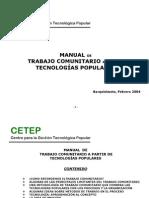Manual de trabajo comunitario a partir de Tecnologías Populares