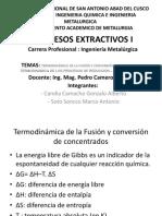 Termodinamica de La Fusion y Conversion de Concentrados . Termodinamica de Los Procesos de Reduccion - Fusion de Oxidos
