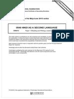 Hindi as a Second Language (0549)-2015 Summer MS 13