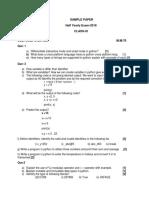 XI Comp.sc. H.Y. Sample Paper 6