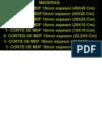 MAterial Maderas MDF