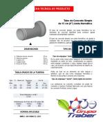 Ficha Tecnica Tubo de Concreto Simple de 6 Pulgadas Norma Nmx-c-401 Junta Hermetica