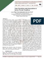 Single Image Super Resolution using Interpolation and Discrete Wavelet Transform