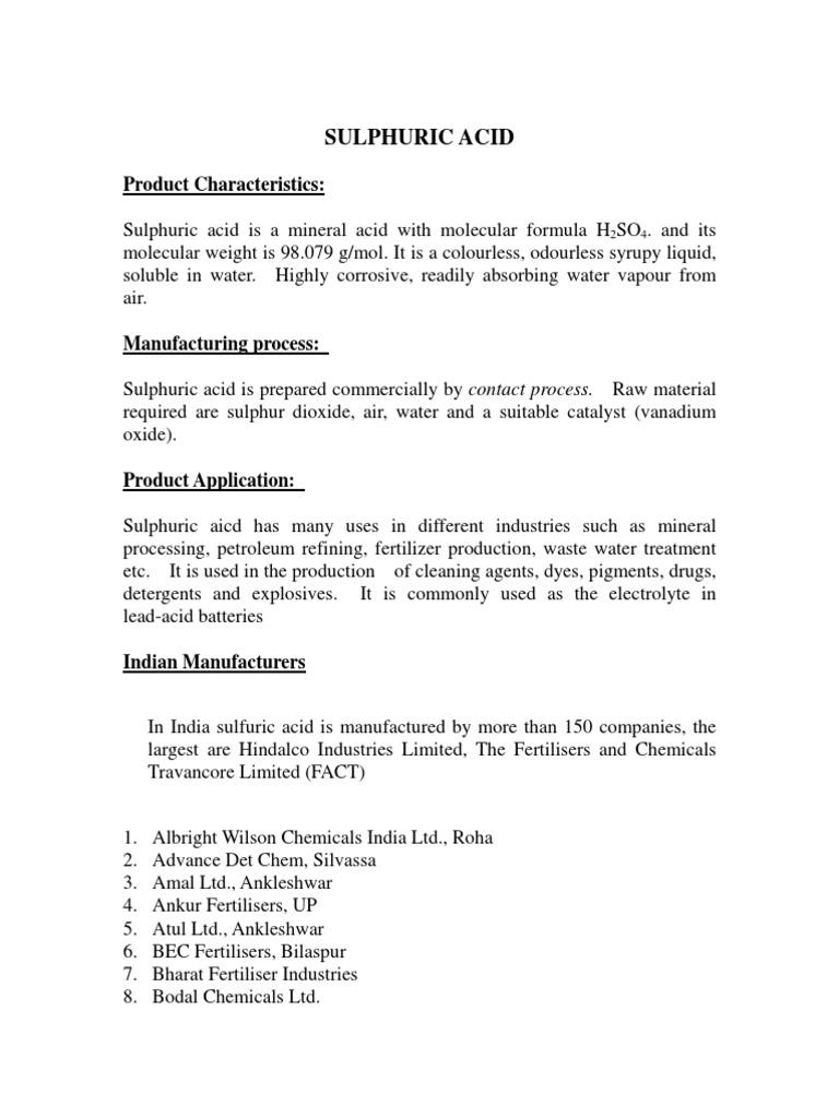 Market Profile on Sulphuric Acid   Ácido sulfúrico   Azufre