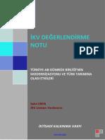 Türkiye-AB Gümrük Birliğinin Modernizasyonu Ve Türk Tarımına Olası Etkileri-Değerlendirme Notu-İKV