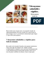 Ideas de Desayuno Saludable Para Toda La Semana