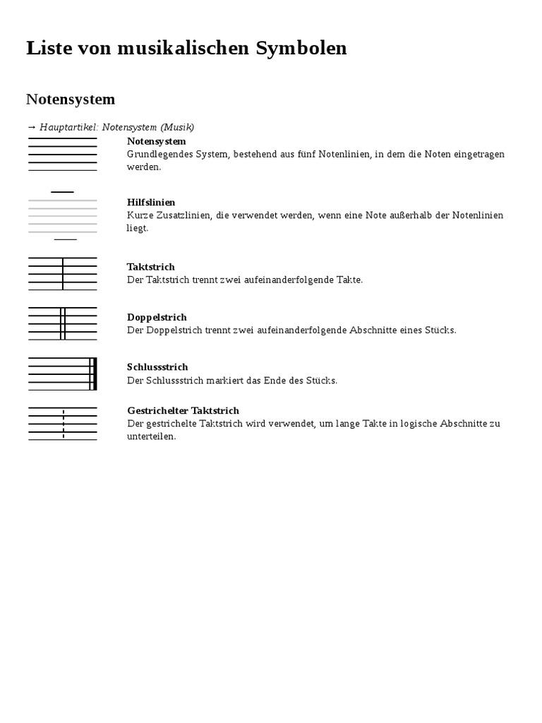 Liste symbole bedeutung Liste von