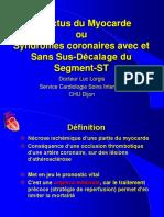 Infarctus Du Myocarde Ou Syndromes Coronaires Avec Et Sans Sus-Décalage Du Segment