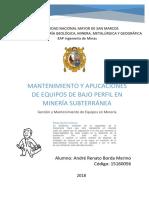 Mantenimiento y Aplicaciones de Equipos de Bajo Perfil en Minería Subterránea