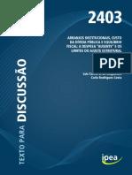 Arranjos Institucionais, Custo Da Dívida Pública e Equilíbrio Fiscal