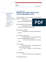 Principales Conectores en Los Textos Argumentativos - Talleres de Avalúo
