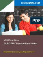 MBBS - Surgery Handwritten Notes