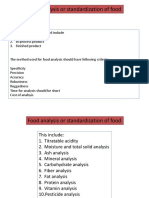 Analysis of Food or Standardization