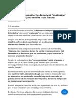 Farmacia Independiente Denunció Matonaje de Laboratorio Por Vender Más Barato