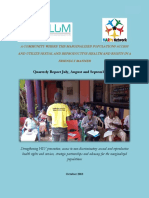 Serving Lives Under Marginalization (SLUM) Quarterly report for the period July, August and September 2018