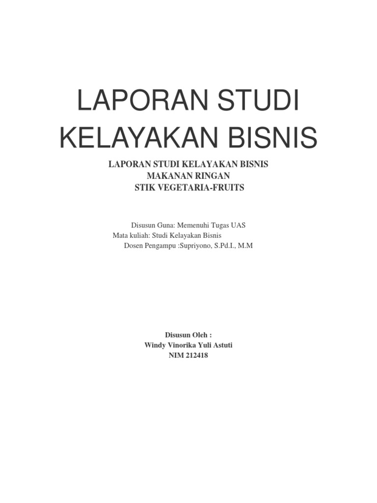 Contoh Laporan Studi Kelayakan Bisnis