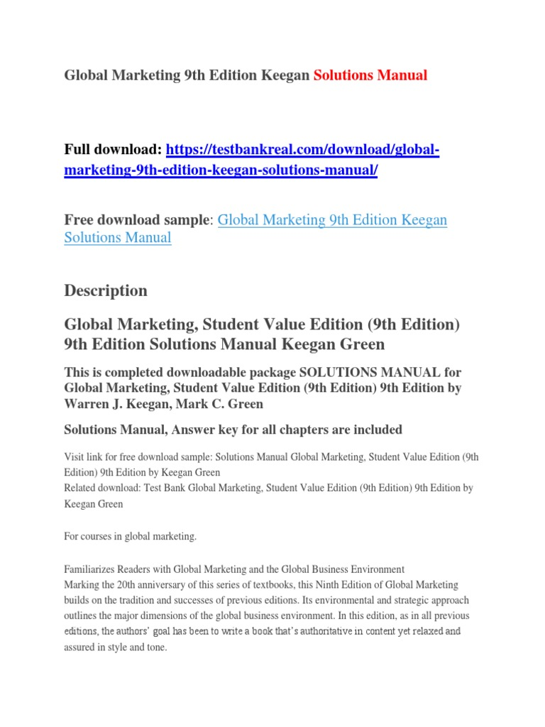 Global Marketing 9th Edition Keegan Solutions Manual | Brexit | Khmer Rouge